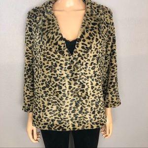 Bobeau Faux Fur Peacoat Jacket Leopard Print